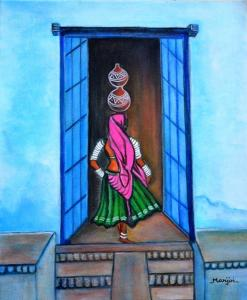 Rajasthani Beauty-Amrita an original painting on canvas.